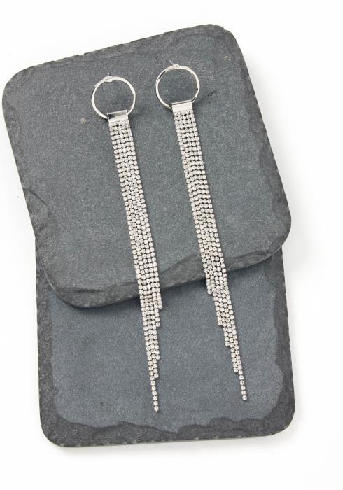 Spencer Silver O Ring Drape Stud Earrings