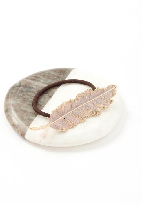Rose Gold Feather Leaf Hair Tie