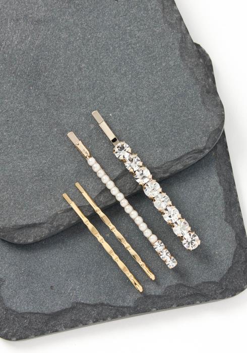 Eliza Quadruple Class Silver Diamond Bobby Pin Set