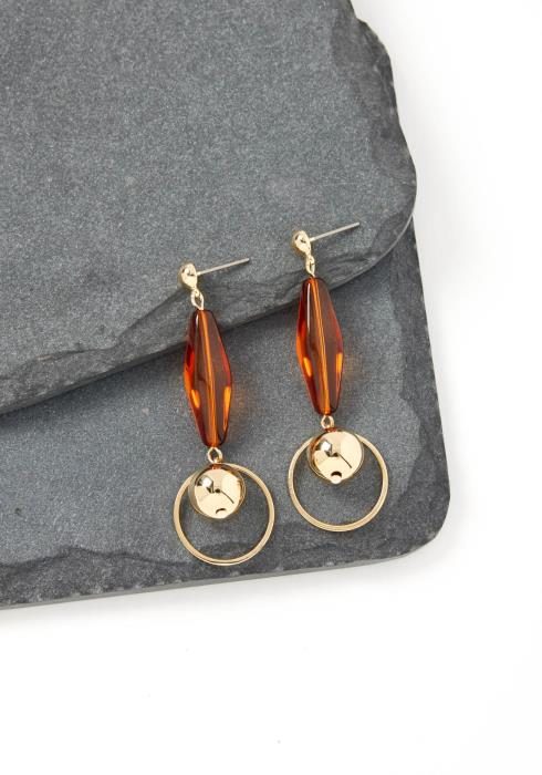 Carina Brown Bead Drop Earrings