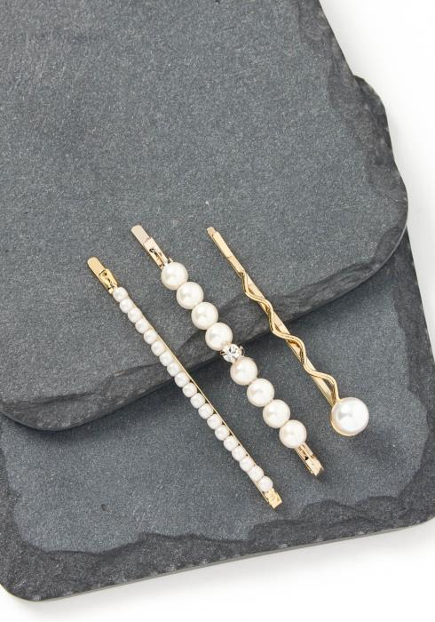 Paxton Pearl Studded Gold Bobby Pin Set