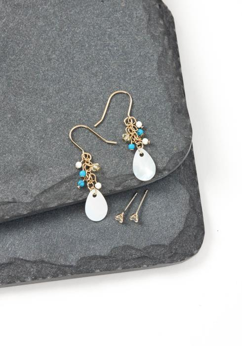 Iris Jade Mini Bead Iridescent Drop Earring Set