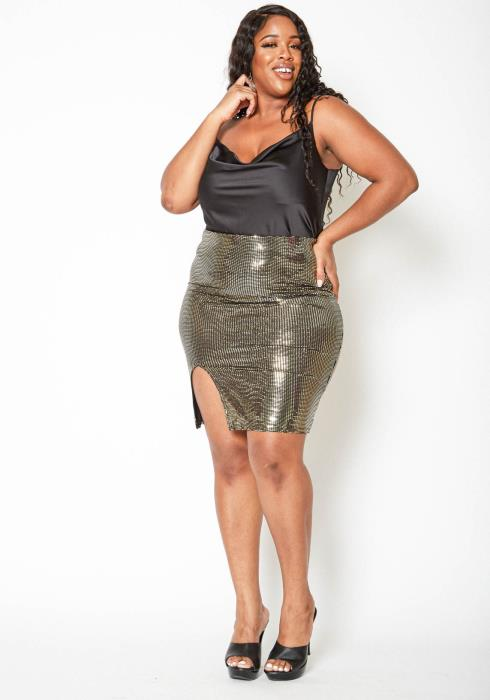 Asoph Plus Size Gold Sequin Slit Hem Mini Skirt