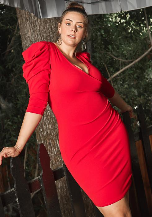 Asoph Plus Size Red Drama Shoulder Bodycon Party Dress