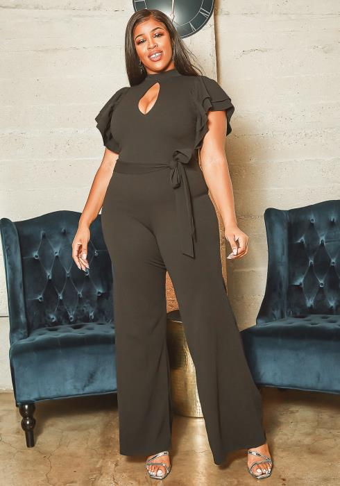 Asoph Plus Size Keyhole Front Formal Jumpsuit