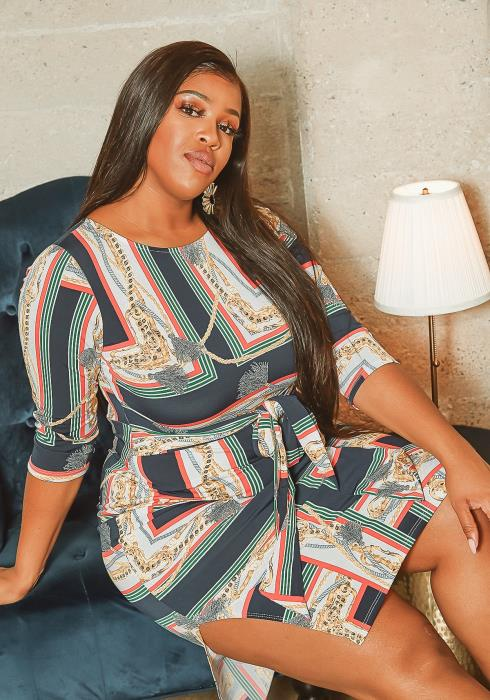 Asoph Plus Size Elegant Renaissance Print Midi Dress
