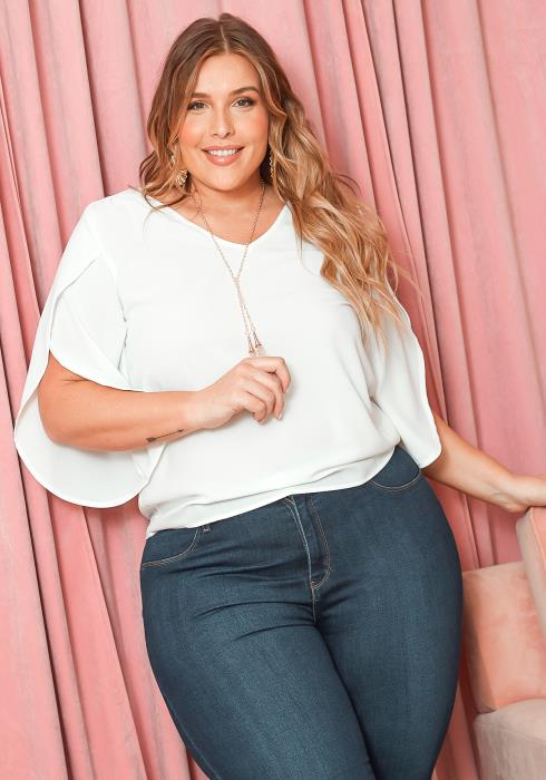 Asoph Plus Size Overlay Short Sleeve Blouse With Necklace