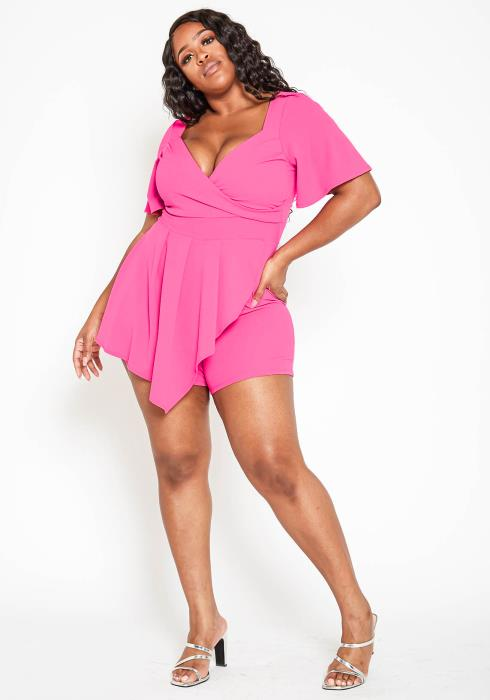Asoph Plus Size Sweetheart Neck Fuchsia Party Romper