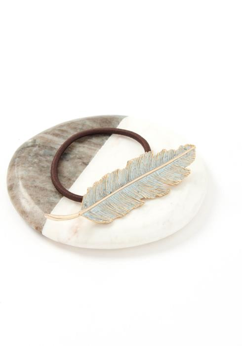 Blue Coated Feather Leaf Hair Tie
