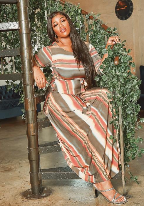 Asoph Plus Size Mars Tone Gradient Fit & Flare Maxi Dress