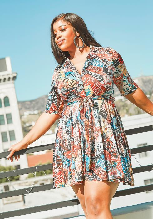 Asoph Plus Size Vintage Plate Print Collar Mini Dress