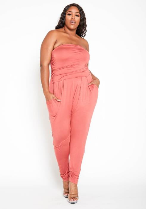 Asoph Plus Size Ruched Harem Tube Jumpsuit