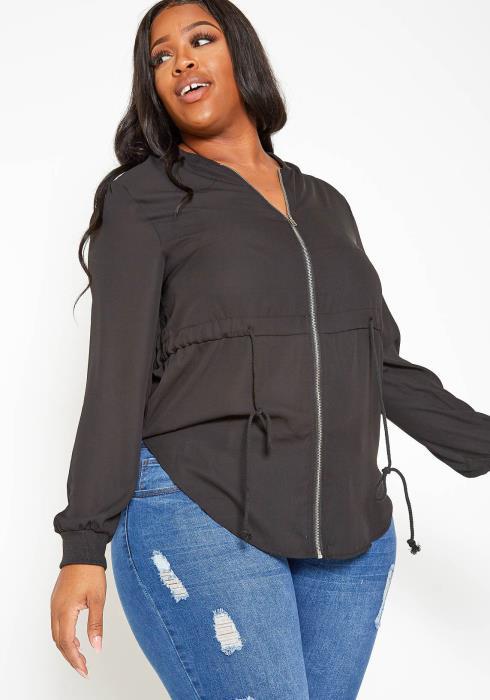 Asoph Plus Size Zip Front Sheer Black Cardigan