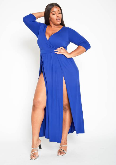 Asoph Plus Size Sexy Double Slit Empire Maxi Dress