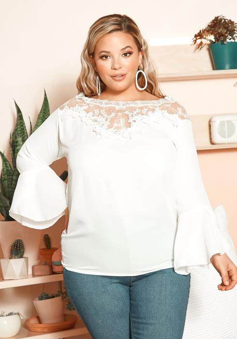 Asoph Plus Size Sheer Lace Trim Bell Sleeve Blouse