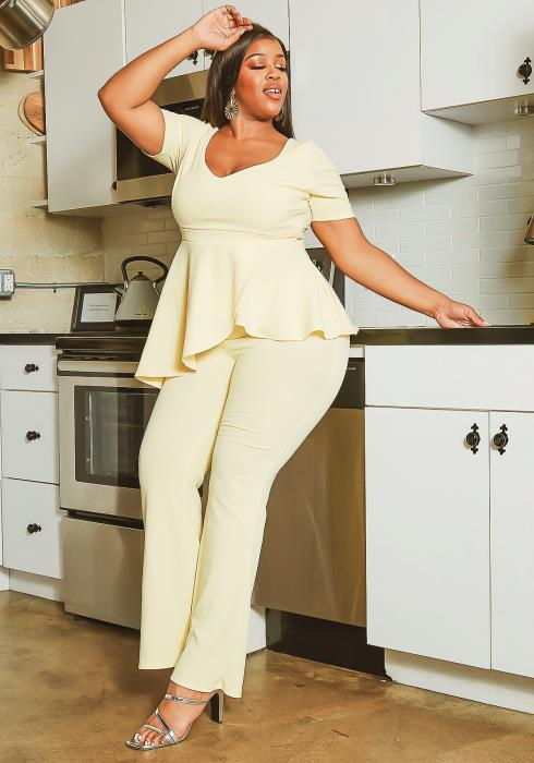 Asoph Plus Size Pastel Yellow Peplum Blouse & Pants Set