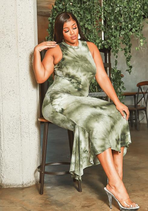 Asoph Plus Size Green Tie Dye Halter Neck Maxi Dress