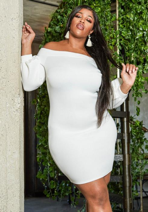 Asoph Plus Size Off Shoulder Balloon Sleeve Bodycon Party Dress