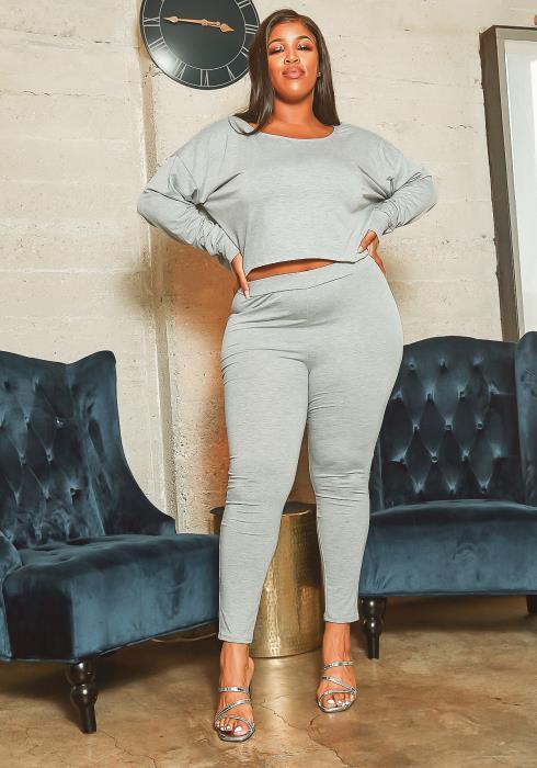 Asoph Plus Size Heather Grey Sweatshirt & Leggings Set