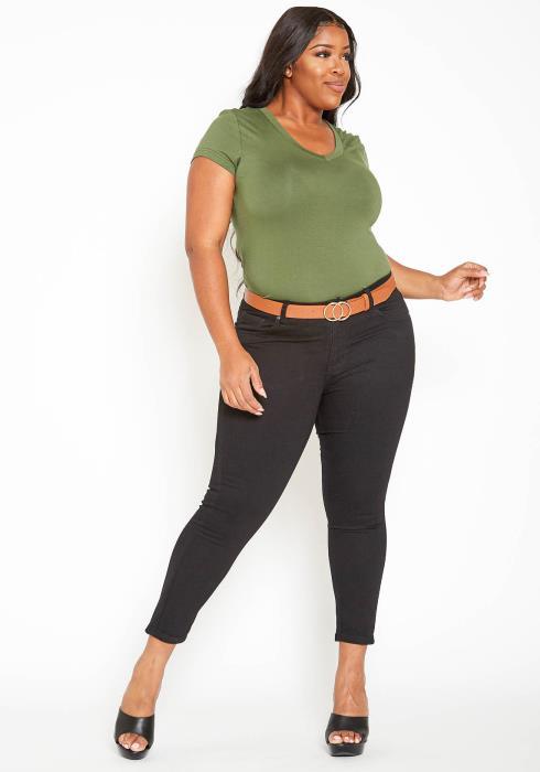 Asoph Plus Size Classic Black Denim Low Rise Skinny Jean