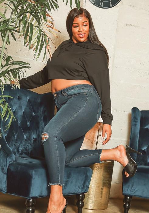 Asoph Plus Size Knee Rip Medium Wash Skinny Jeans