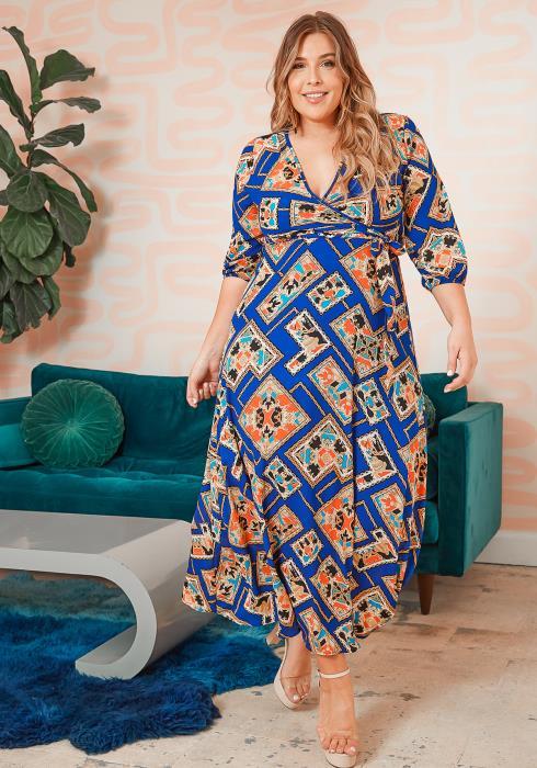 Asoph Plus Size Royal Blue Tradition Pattern Maxi Dress