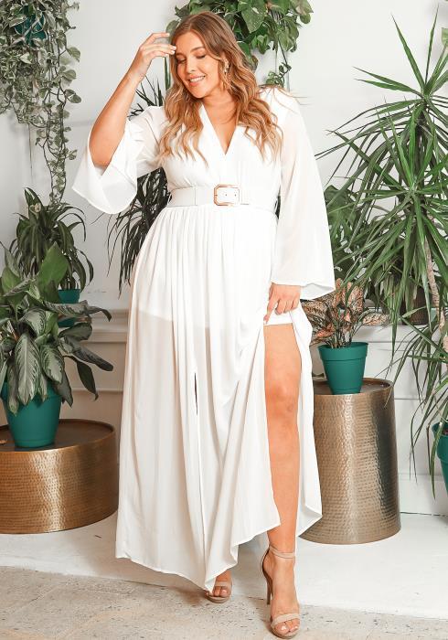 Asoph Plus Size Serene Belted Chiffon Maxi Dress