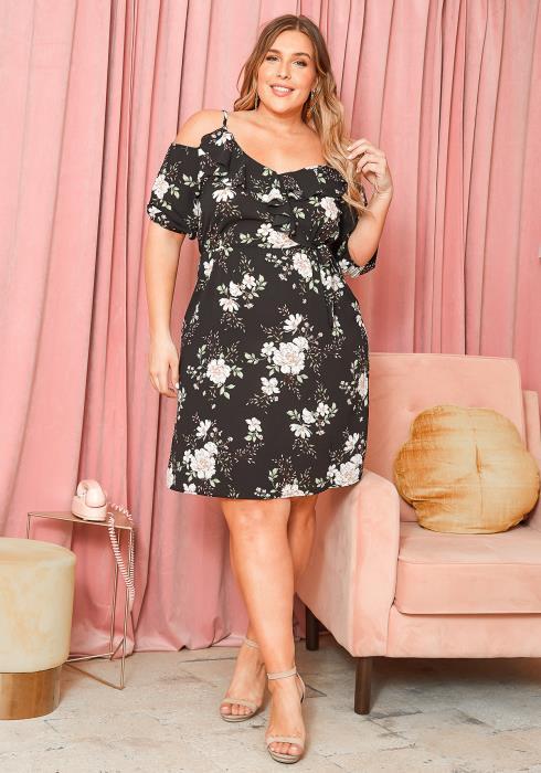 Asoph Plus Size Spring Season Floral Art Cami Dress