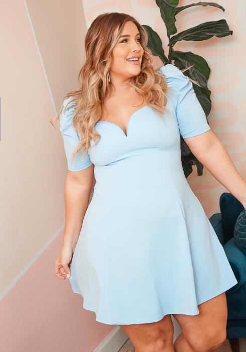 Asoph Plus Size Puffy Shoulder Fit & Flare Mini Dress