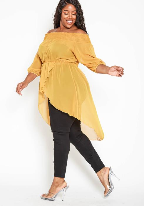 Asoph Plus Size Off Shoulder High To Low Chiffon Blouse