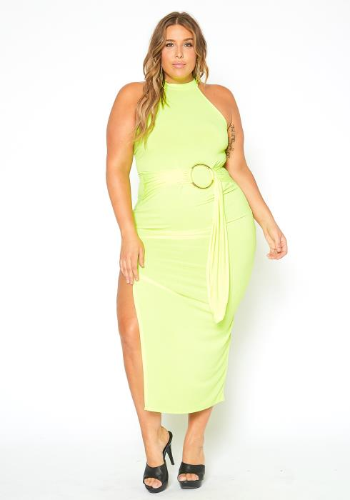 Asoph Plus Size O Ring Belted Neon Green Slit Hem Maxi Dress