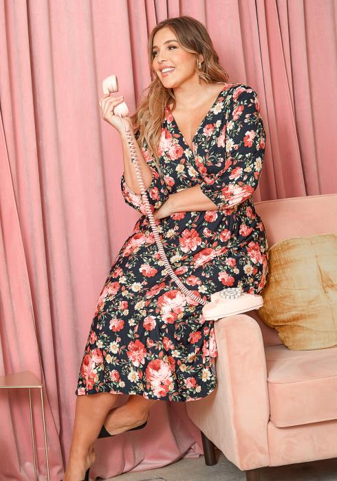 Asoph Plus Size Spring Floral Fit & Flare Midi Dress