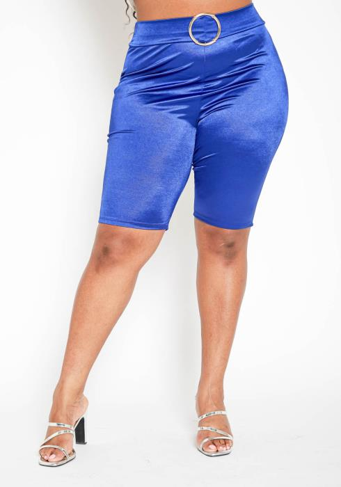 Asoph Plus Size Royal Blue  O Ring Satin Biker Shorts