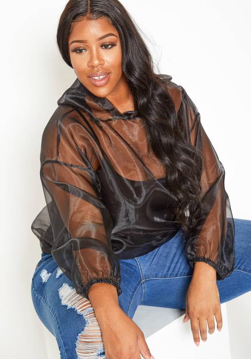 Asoph Plus Size New Trend Full Mesh Hooded Sweater