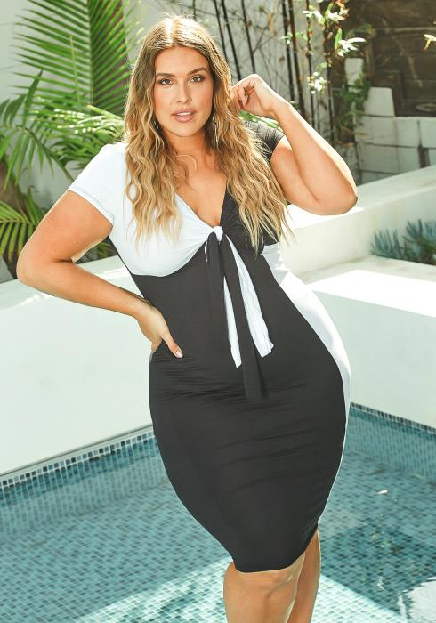 Asoph Plus Size Color Splice Knot Front Bodycon Midi Dress