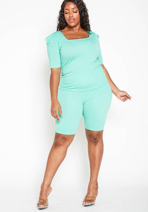 Asoph Plus Size Mint Green Square Neck Top & Biker Shorts Set
