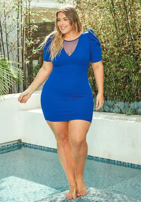 Asoph Plus Size V Mesh Design Mini Bodycon Dress
