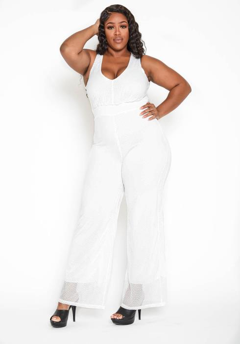 Asoph Plus Size Serene White Keyhole Pattern Sleeveless Jumpsuit