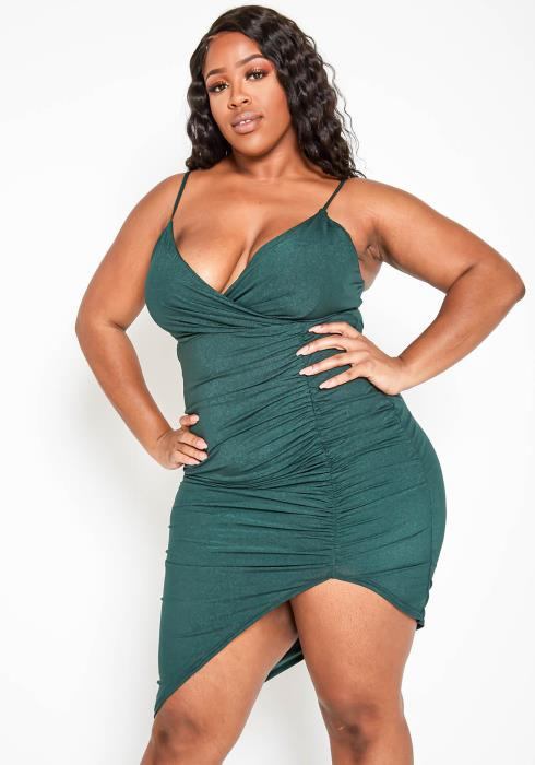 Asoph Plus Size Asymmetric Forest Green Cami Bodycon Dress