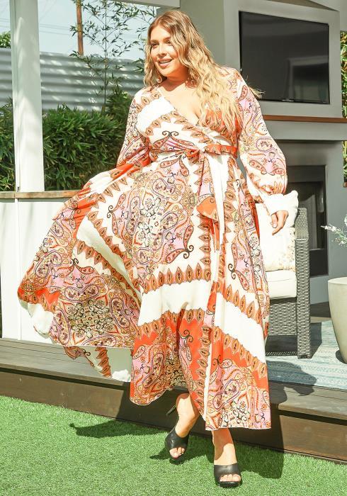 Asoph Plus Size Orange Paisley Patterned Long Sleeve Maxi Dress