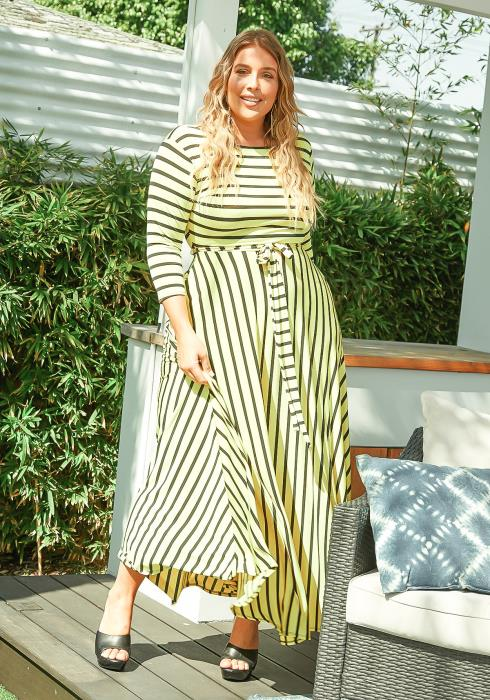 Asoph Plus Size Yellow Striped Fit & Flare Maxi Dress