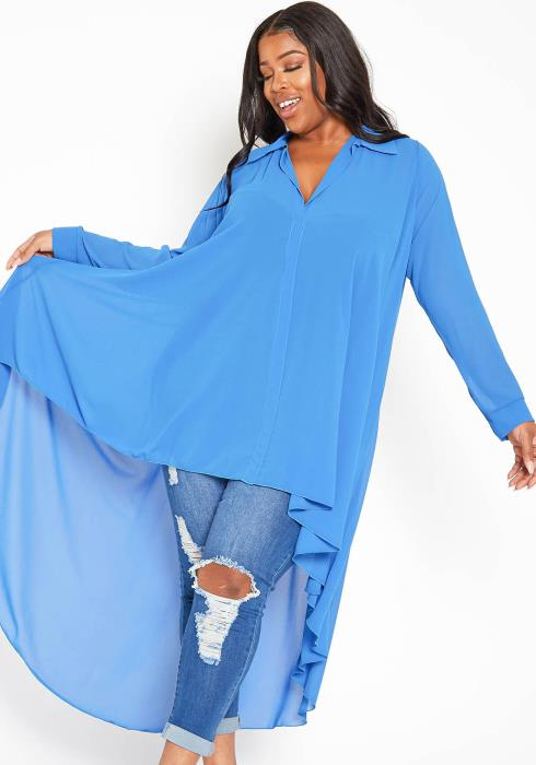 Asoph Plus Size Open Collar High To Low Chiffon Blouse