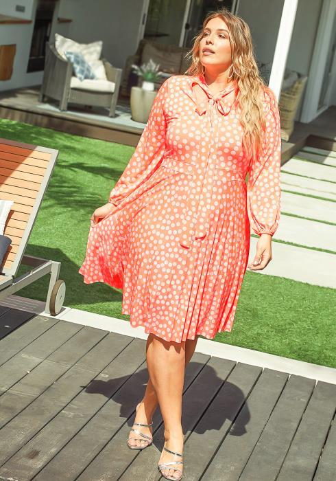 Asoph Plus Size Neon Coral Polka Dot Tie Front Midi Dress