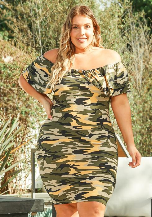 Asoph Plus Size Camo Babe Off Shoulder Bodycon Mini Dress