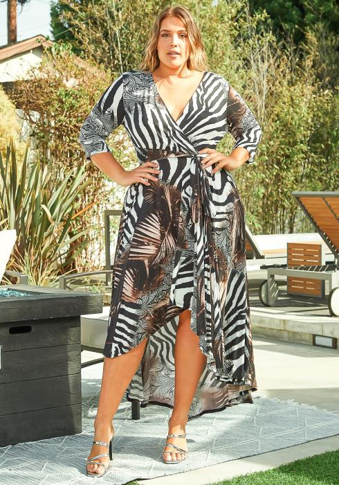 Asoph Plus Size Exotic Animal Print High To Low Maxi Dress
