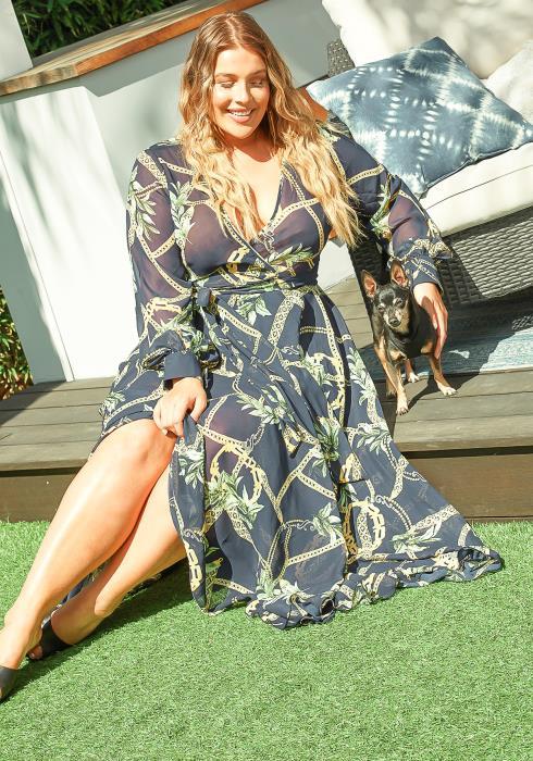 Asoph Plus Size Royal Paradise Chiffon Navy Maxi Dress