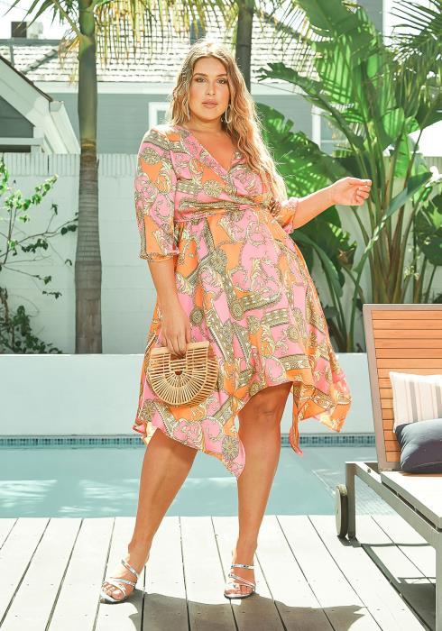 Asoph Plus Size Multi Print Asymmetrical Sun Dress