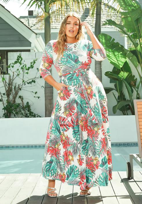 Asoph Plus Size Exotic Leaf Print Fit & Flare Maxi Dress