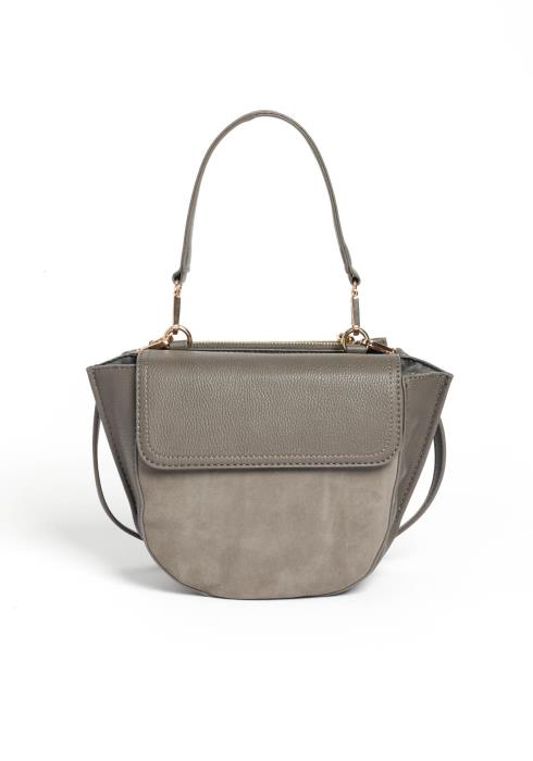 Executive Gray Suede Leather Contrast Crossbody Purse