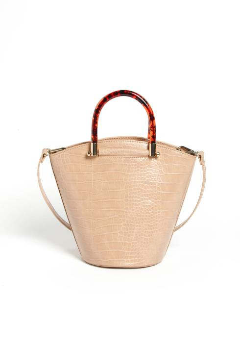 Nude Crocodile Leather Tote Bag